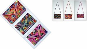 Women Purse Hand Cross Sling Bag Clutch Indian Embroidery Ethnic Floral Elephant
