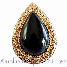 SAMANTHA WILLS BB New Black Agate Bohemian Teardrop Bardot Ring Tag Box & Pouch