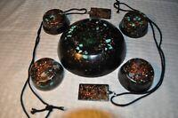 7 piece quartz crystal Orgone Energy set with 2 pendants 5G wifi EMF protection