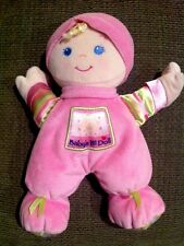 "Fisher Price Baby's 1st First Doll 10"" Pink Plush Rattle Soft Body Green Ribbon"