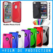COQUE HOUSSE S LINE CASE APPLE IPHONE 4S, 5S, 5C, 6S PLUS, SE GEL SILICONE +FILM
