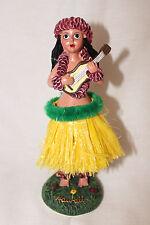 NEW Hawaiian Hawaii Dashboard Hula Doll YELLOW Skirt Dancer Girl UKULELE # 40606
