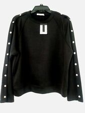T by ALEXANDER WANG Sweatshirt with Full Length Snap Sleeves Black NWT Size XS