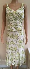 Minuet Cream Green Floral Matching Skirt Top Occasion Outfit Size 10