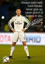 Christiano Ronaldo Poster A4 - Real Madrid - Motivational Quote 297mm x210mm