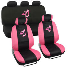 Stylish Pink Love Heel Pattern Polyester Seat Cover Set for Car Truck SUV