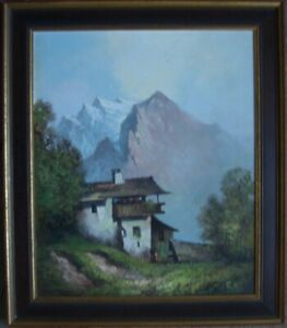 S.S.Moosbach Alps Fir Tree Valley Bach Mountain Clouds Hut Forest Antique
