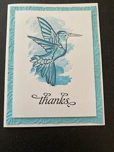 """Stampin Up Card Kit Set Of 4 """"Thanks"""" Turquoise Hummingbird"""