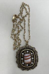 Ornate Vintage Filigree Gilt Sterling Silver Agate Pearl Pendant Israel Necklace