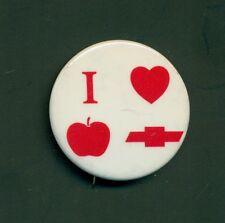 Vintage I Love Apple Chevrolet Pinback Button - York,PA