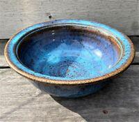 Studio Art Pottery Hand Thrown Bowl Blue Purple Chop Mark