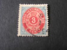 *DANISH WEST INDIES, SCOTT # 6. 3c. VALUE BLUE & CARMINE 1874-79 ARMS USED
