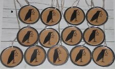 "13 Primitive Crow w/Star 1 1/4"" Metal Rim Hang Tags Gift Ties Mini Tree Ornies"