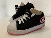 Girls Size UK 4 Heelys X2 Fresh Black And Pink Canvas Skate Shoes VGC
