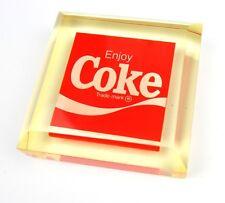 Coca-Cola Coke Acryl Briefbeschwerer Lucite Paper Weight USA