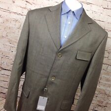 Testardi Couture Men's Blazer Size 46L Herringbone 3 Button Wool Cashmere Beige