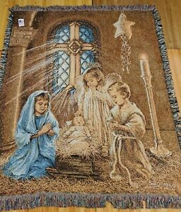 """Christmas Pageant Dona Gelsinger Afghan Tapestry Blanket New With Tags 49""""x59"""""""