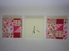MODERN PINK RED CREAM PATCHWORK QUILT EFFECT WALL HANGINGS & FAUX SUEDE CLOCK 30