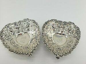2x Sterling Silver Nut Candy Dish Butter Bowl Trinket Gorham Heart Iron Cross