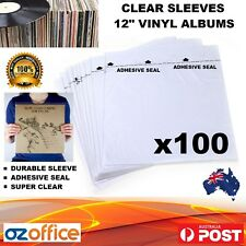 "100 x Vinyl Record Album Plastic Sleeves with Adhesive Seal 12"" LP Record Cover"