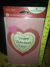 American Greetings Heart Valentine's Day Cards Glitter, 6-Card Count w/Envelopes
