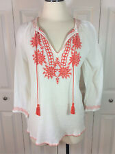 Beach Lunch Lounge Women's White/Orange Embroidered Peasant Top Sz S