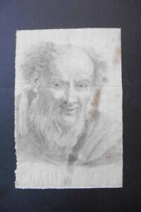 ITALIAN-BOLOGNESE SCHOOL 18thC - PORTRAIT BEARDED MAN CIRCLE GANDOLFI - CHARCOAL