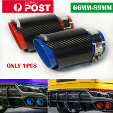 Real Carbon Fiber Glossy Black & Red Exhaust Tips Muffler Pipe Inlet 63mm AU