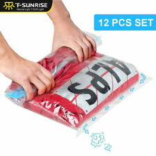 12PCS Roll Up Compression Vacuum Storage Bags Travel Luggage Space Saving Bag UK