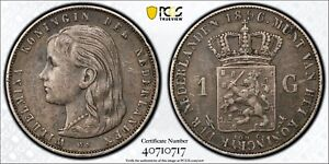 1896 NETHERLAND 1 GULDEN WILHELMINA PCGS XF45 KONINGIN KM-117