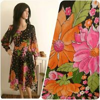 Vintage 70s Chiffon Wildflower Psych Floral A line Skater Dress Boho 8 36