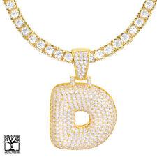 "Custom Bubble Letter D Initial Gold Plated CZ Pendant 24"" Tennis Chain Necklace"