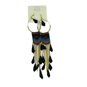 Mia Collection Hoop Earring Set Colorful Beads Feathers Native American Style