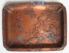 Coupelle plateau en étain et cuivre Japon ancien 19e siècle Dragon démon Japan