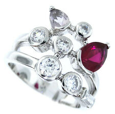 Ruby Red  Aqua & Clear CZ Sterling Silver .925 Ladies Ring Size 9
