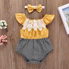 2pcs Newborn Infant Baby Girls Romper Bodysuit Jumpsuit Headband Clothes Set