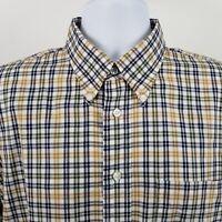 Jos A Bank 1905 Mens Blue Yellow Green Check Plaid L/S Dress Button Shirt Sz L