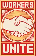 "Workers Unite Handshake USSR Soviet Union Car Bumper Sticker Decal 3"" x 5"""