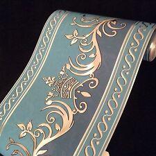 wunderschöne Barock Bordüre Silber , Blau .dunkel Blau5m lang 17,7 cm