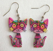 Pair of Acrylic Psychedelic Hippy Boho Pink Cat Dangle Drop Earrings