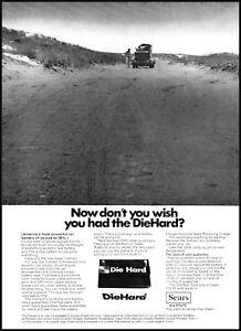 1969 Car breakdown lonely road Die Hard batteries vintage photo Print Ad ads8