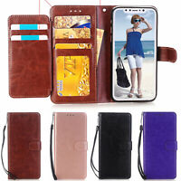 For Apple iPhone XS MAX/ XR 7 & 8 Flip Leather Wallet Case w Card Slot TPU Cover