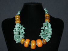 Ethnic Berber resin trade beads W/ aventurine Jade stone chips Necklace, Morocco
