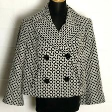 Anne Klein Womens 14 Jacket Black White Cropped Textured Bell Sleeves Lined