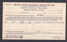 Ca 1915 US RR ADMINISTRATION MAINE CENTRAL RR FOR PICKUP OF FREIGHT, UNUSED
