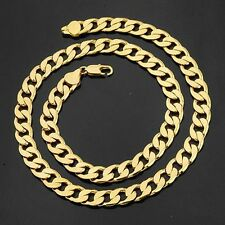"24"" Men's Necklace 12MM Curb Chain Heavy 18k Yellow Gold Filled Fashion Jewelry"