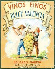 VINTAGE Wine Label Vinos Finos Dulce Valencia BAR ART GAME ROOM MAN CAVE PRINT