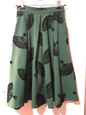 Bettie Page fan circle skirt, green, retro 50s vintage inspired, size XS
