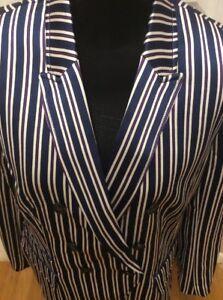 NWOT Banana Republic $178.00 Women Double Breasted-Fit Navy White Stripe Blazer