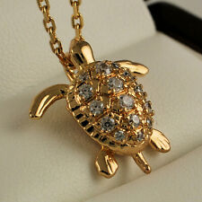 18ct Gold Filled Turtle Tortoise Pendant Clear CZ Necklace Chain Gift UK N41